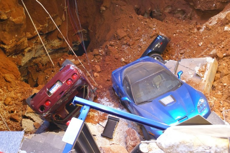 A sinkhole collapsed part of the National Corvette Museum in Bowling Green, Ky., swallowing 8 cars. (National Corvette Museum)