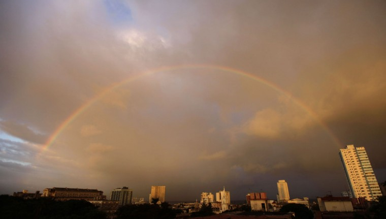 A rainbow is seen over the skyline in Havana, Nov. 7, 2011. (Desmond Boylan/Reuters)