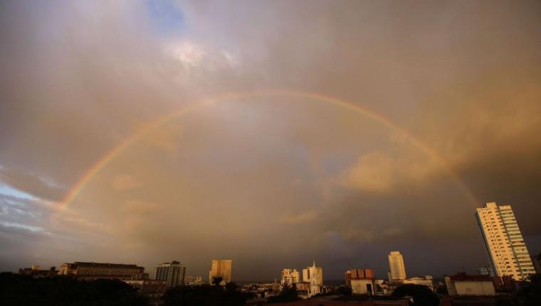 A rainbow is seen over the skyline in Havana, Nov. 7, 2011. (Desmond Boylan/Reuters)