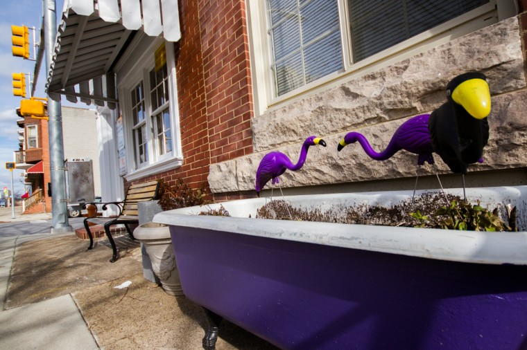 Decorations outside a home on Conkling Street in Brewers Hill, Baltimore, Md. (Kalani Gordon/Baltimore Sun)