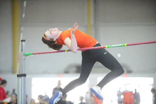 Fallston's Lauren Woollen makes an attempt in the 2A girls high jump competition during the 1A/2A indoor track state championships at the Prince George's Sports and Learning Complex in Landover Monday, Feb. 17. (Brian Krista/BSMG)