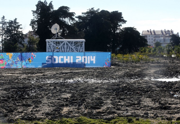 A section of the Olympic Village has not yet been landscaped at the Winter Olympics in Sochi, Russia. (Brian Cassella/Chicago Tribune/MCT)