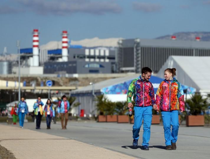 Volunteers pass through Olympic Village at the Winter Olympics in Sochi, Russia. (Brian Cassella/Chicago Tribune/MCT)