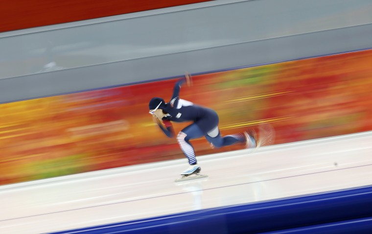 South Korea's Lee Sang-hwa skates during the women's 500 metres speed skating race at the Adler Arena during the 2014 Sochi Winter Olympics February 11, 2014. (REUTERS/Marko Djurica)