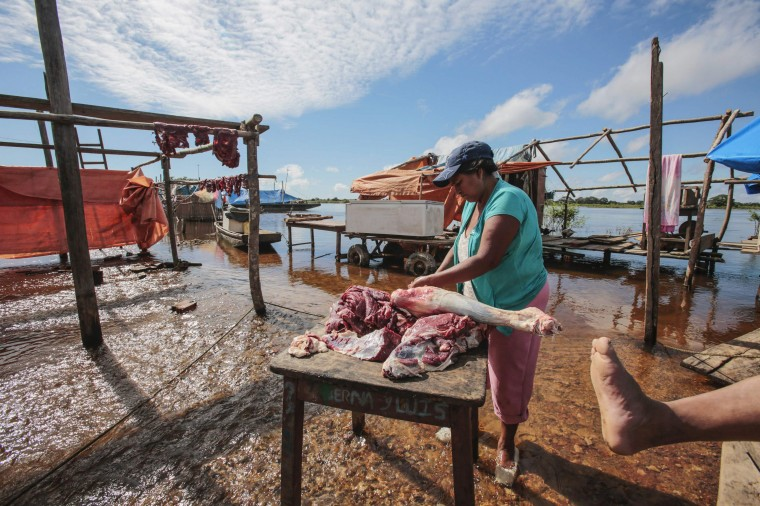 A woman cuts meat as she stands in the flood in Puerto Varador in Trinidad in the northeast region in Beni department in Bolivia, February 28, 2014. Floodwaters from near record rainfall have flooded large parts of northeast Bolivia and northwest Brazil, according to government sources in both countries. (REUTERS/David Mercado)