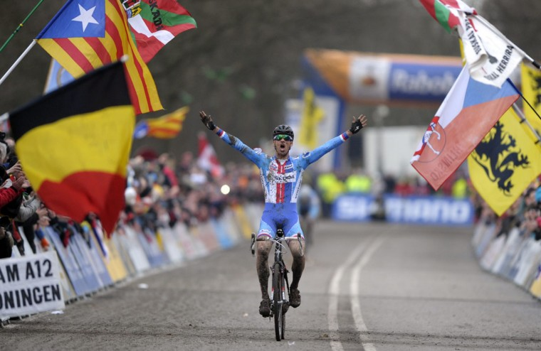 The Czech Republic's Zdenek Stybar celebrates at the finishing line after winning the men's event at the 2014 UCI Cyclo-Cross World Championships in Hoogerheide February 2, 2014. (Laurent Dubrule/Reuters)