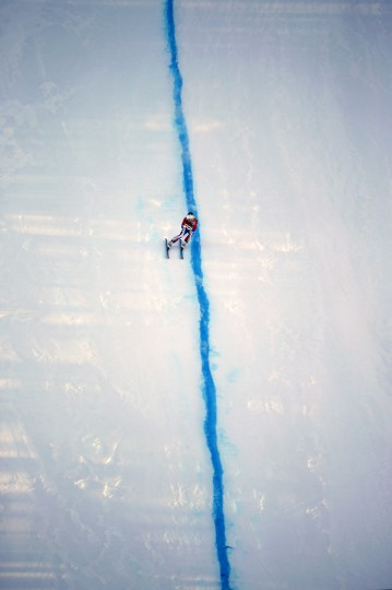 France's Alexis Pinturault skis during the downhill run of the men's alpine skiing super combined training session at the Sochi 2014 Winter Olympics at the Rosa Khutor Alpine Center February 13, 2014. REUTERS/Leonhard Foeger