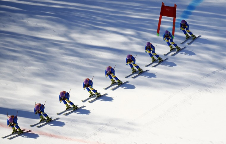 Ukraine's Bogdana Matsotska speeds down the course during the women's alpine skiing Super G competition at the Sochi 2014 Winter Olympics at the Rosa Khutor Alpine Center February 15, 2014. Picture taken with multiple exposure function. REUTERS/Kai Pfaffenbach