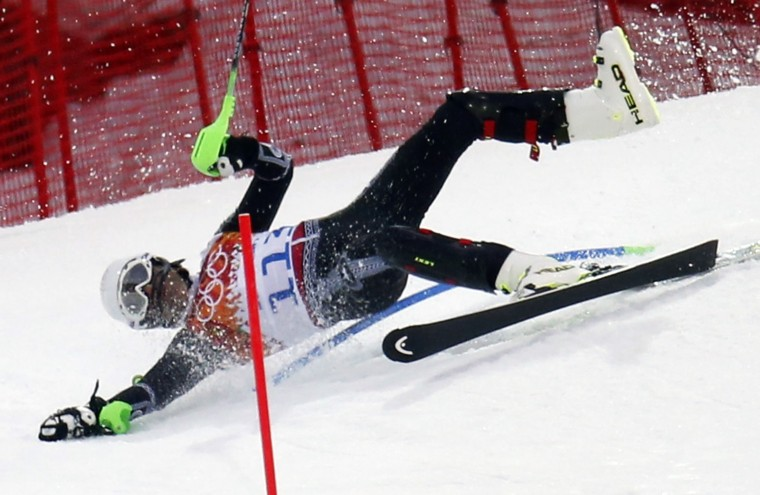 Mexico's Von Hohenlohe crashes during the first run of the men's alpine skiing slalom event at the 2014 Sochi Winter Olympics