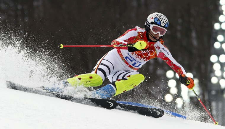 Germany's Maria Hoefl-Riesch skis during the slalom run of the women's alpine skiing super-combined event at the 2014 Sochi Winter Olympics, February 10, 2014. (Stefano Rellandini/Reuters)
