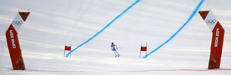 Austria's Matthias Mayer returns to the finish area after skiing out during the men's alpine skiing Super-G competition at the 2014 Sochi Winter Olympics at the Rosa Khutor Alpine Center February 16, 2014. (Kai Pfaffenbach/Reuters)