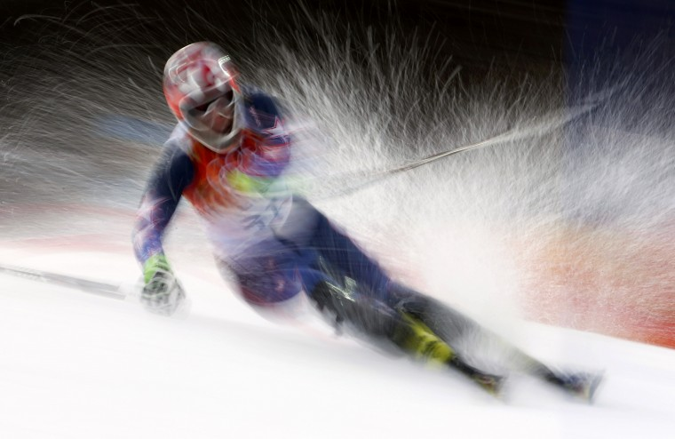 Nolan Kasper of the U.S. competes in the first run of the men's alpine skiing slalom event at the 2014 Sochi Winter Olympics at the Rosa Khutor Alpine Center February 22, 2014. (REUTERS/Dominic Ebenbichler)