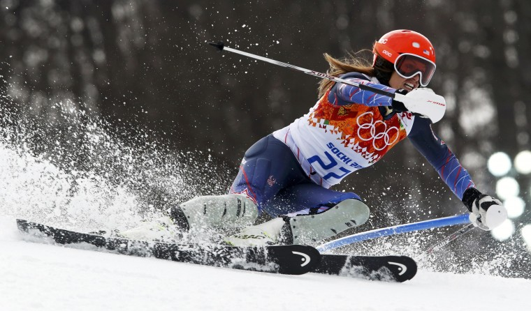 Julia Mancuso of the U.S. competes in the slalom run of the women's alpine skiing super-combined event at the 2014 Sochi Winter Olympics, February 10, 2014. Mancuso came in third place. (Stefano Rellandini/Reuters)