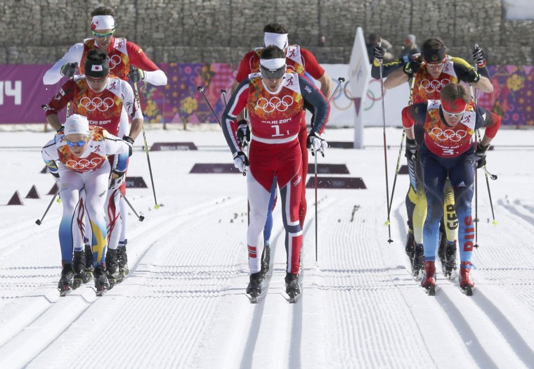 Sweden's Lars Nelson, Norway's Eldar Roenning and Russia's Dmitriy Japarov (front, from left) start the men's cross-country 4x10km relay event at the 2014 Sochi Winter Olympics February 16, 2014. (Sergei Karpukhin/Reuters)