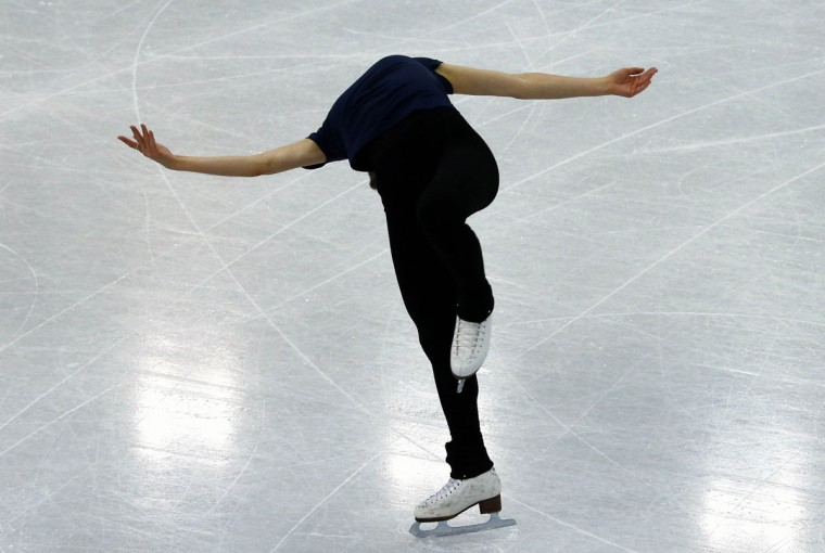 South Korea's Kim Yuna practices her routine during a figure skating training session at the Iceberg Skating Palace training arena during the 2014 Sochi Winter Olympics February 17, 2014. (David Gray/Reuters)