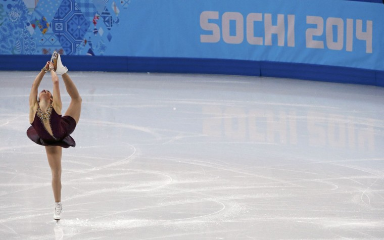 Kaetlyn Osmond of Canada competes during the figure skating team ladies' free skate event at the Sochi 2014 Winter Olympics, February 9, 2014. (David Gray/Reuters)