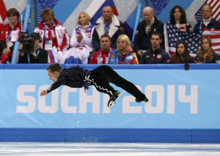 Paul Bonifacio Parkinson of Italy competes during the figure skating team event at the Sochi 2014 Winter Olympics, February 9, 2014. (Alexander Demianchuk/Reuters)