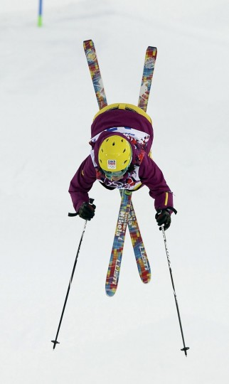 Nikola Sudova of the Czech Republic performs a jump during the women's freestyle skiing moguls qualification round at the 2014 Sochi Olympic Games in Rosa Khutor. (REUTERS/Dylan Martinez)