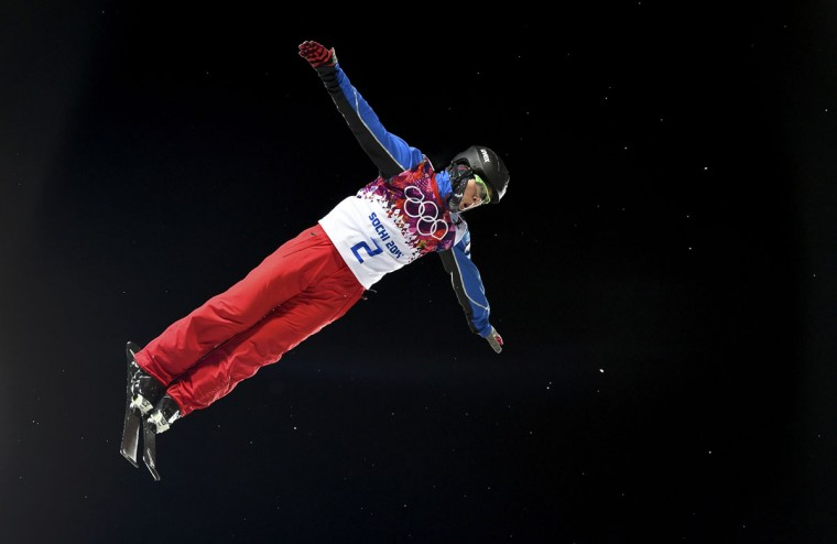 China's Qi Guangpu competes in the men's freestyle skiing aerials finals at the 2014 Sochi Winter Olympic Games in Rosa Khutor, February 17, 2014. (Dylan Martinez/Reuters)