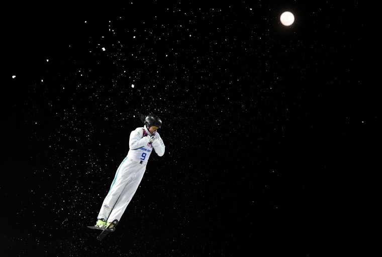 Australia's Laura Peel performs a jump during the women's freestyle skiing aerials finals at the 2014 Sochi Winter Olympic Games in Rosa Khutor, February 14, 2014. REUTERS/Dylan Martinez