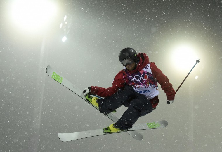 France's Kevin Rolland performs a jump during the men's freestyle skiing halfpipe finals at the 2014 Sochi Winter Olympic Games in Rosa Khutor February 18, 2014. REUTERS/Dylan Martinez
