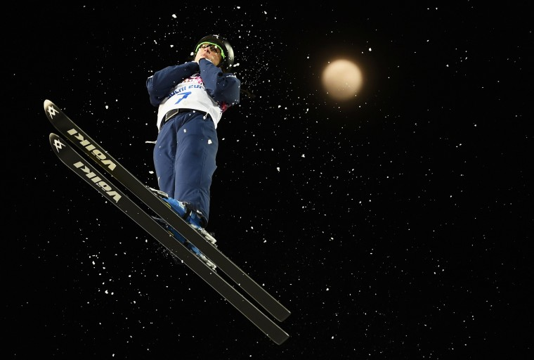 Emily Cook of the U.S. performs a jump during a practice session before the women's freestyle skiing aerials finals at the 2014 Sochi Winter Olympic Games in Rosa Khutor February 14, 2014. REUTERS/Dylan Martinez