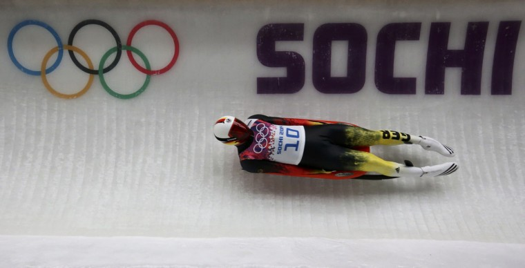 Germany's Felix Loch speeds down the track to win the men's singles luge event at the 2014 Sochi Winter Olympics, at the Sanki Sliding Center February 9, 2014. (Arnd Wiegmann/Reuters)