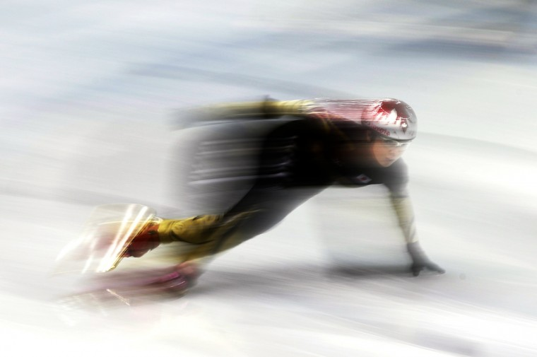 A member of Japan's short track speed skating team skates during a training session in preparation for the 2014 Sochi Winter Olympics at the Iceberg Skating Palace. (Lucy Nicholson/Reuters)
