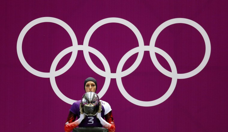 Austria's Janine Flock awaits the start of a women's skeleton training session at the Sanki Sliding Center at the 2014 Sochi Winter Olympics,, February 10, 2014. (Arnd Wiegmann/Reuters)