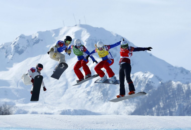Switzerland's Simona Meiler (left), Faye Gulini of the U.S., France's Nelly Moenne Loccoz, France's Chloe Trespeuch and Eva Samkova of the Czech Republic compete during the women's snowboard cross semifinals at the 2014 Sochi Winter Olympic Games in Rosa Khutor February 16, 2014. (Mike Blake/Reuters)