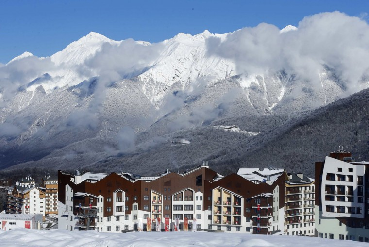 A general view of the accommodation at the athletes village in Rosa Khutor as preparations continue for the 2014 Sochi Winter Olympics February 1, 2014. REUTERS/Mike Blake