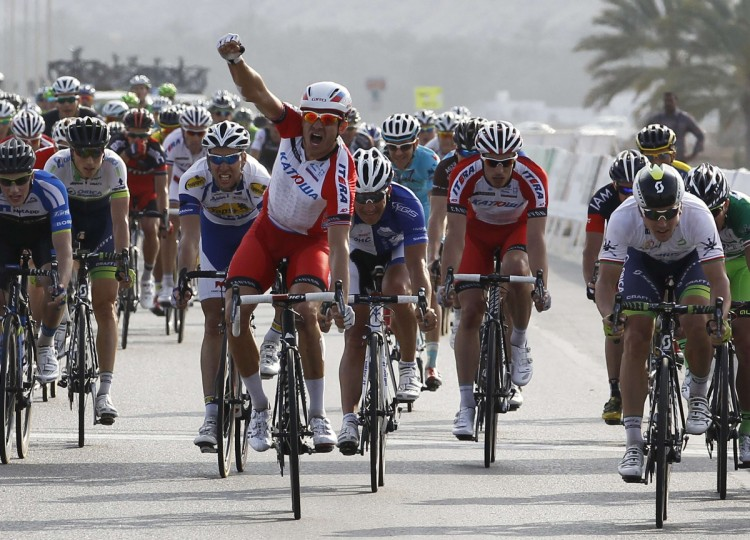 Norway's Alexander Kristoff celebrates after winning the 130 km (81 miles) stage two of the Tour of Oman cycling race in Muscat. (Hamad I Mohammed/Reuters)