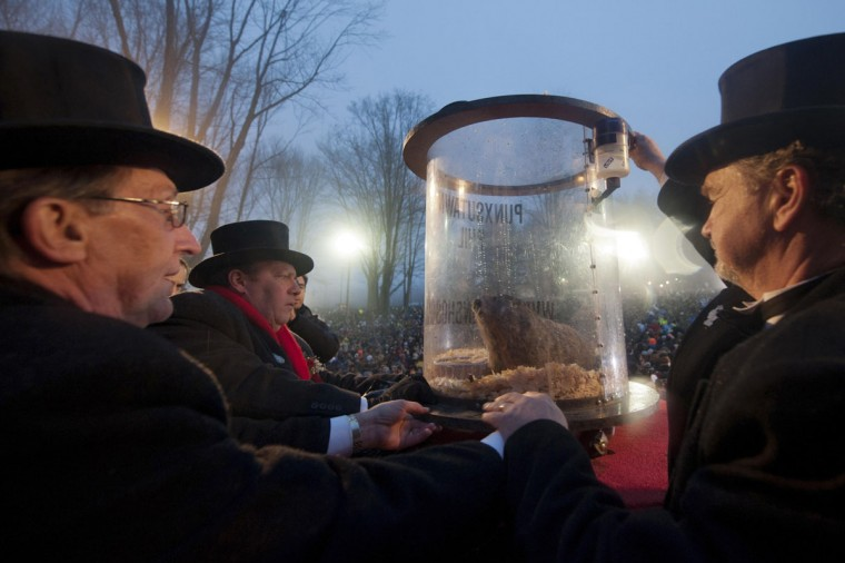 Members of the Groundhog Club raise Punxsutawney Phil in a container to a pedestal on stage, after Phil's annual weather prediction on Gobbler's Knob on the 128th Groundhog Day in Punxsutawney, Pennsylvania, Feb. 2, 2014. Punxsutawney Phil, a famed U.S. groundhog with an even more famous shadow, emerged from his burrow on Sunday and predicted six more weeks of winter, much to the chagrin of those hoping for an early spring. (Stephanie Strasburg/Reuters)
