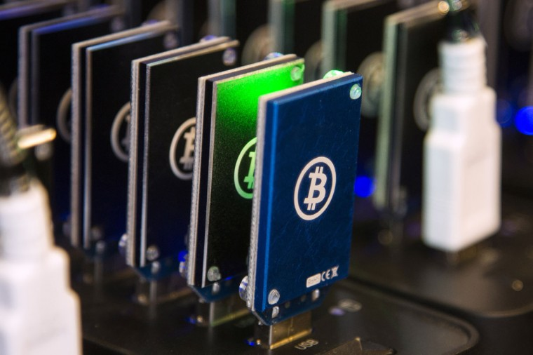 A chain of block erupters used for Bitcoin mining is pictured at the Plug and Play Tech Center in Sunnyvale, Calif., on October 28, 2013. (REUTERS/Stephen Lam)