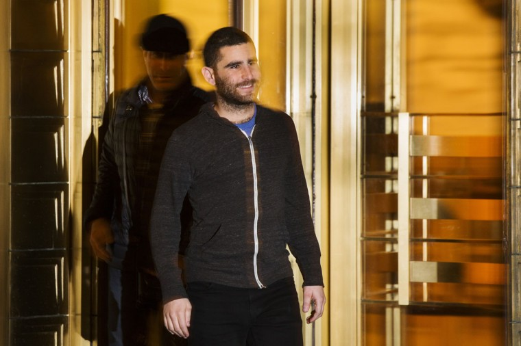 Bitcoin Foundation Vice Chairman Charlie Shrem exits the Manhattan Federal Courthouse in New York on January 27, 2014. Shrem has been charged by U.S. prosecutors with conspiring to commit money laundering by helping to funnel cash to illicit online drugs bazaar Silk Road. Shrem, who was also charged with operating an unlicensed money transmitting business, appeared in U.S. District Court in Manhattan and was released on a $1 million bond. (REUTERS/Lucas Jackson)