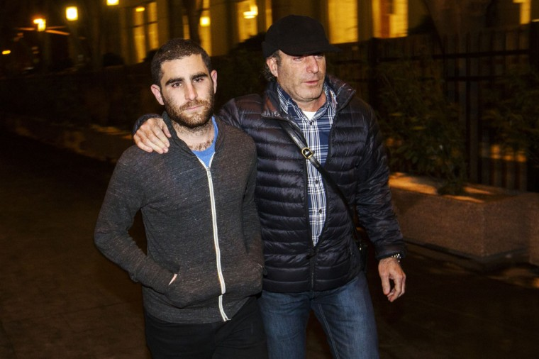 Bitcoin Foundation Vice Chairman Charlie Shrem (left) leaves the Manhattan Federal Courthouse in New York on January 27, 2014. Shrem has been charged by U.S. prosecutors with conspiring to commit money laundering by helping to funnel cash to illicit online drugs bazaar Silk Road. Shrem, who was also charged with operating an unlicensed money transmitting business, appeared in U.S. District Court in Manhattan and was released on a $1 million bond. (REUTERS/Lucas Jackson)