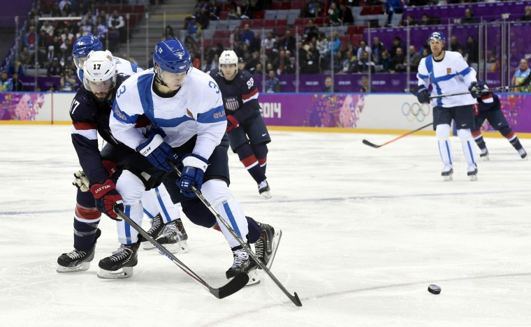 Finland defenseman Olli Maata (3) battles for the puck with USA forward Ryan Kesler (17) in the men's ice hockey bronze medal game during the Sochi 2014 Olympic Winter Games at Bolshoy Ice Dome. (Scott Rovak-USA TODAY Sports)Finland defenseman Olli Maata (3) battles for the puck with USA forward Ryan Kesler (17) in the men's ice hockey bronze medal game during the Sochi 2014 Olympic Winter Games at Bolshoy Ice Dome. (Scott Rovak-USA TODAY Sports)
