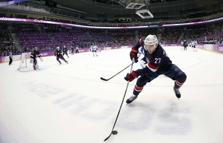 USA defenseman Ryan McDonagh (27) controls the puck against Finland in the men's ice hockey bronze medal game during the Sochi 2014 Olympic Winter Games at Bolshoy Ice Dome. (Winslow Townson-USA TODAY Sports)