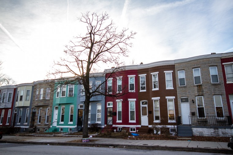 More traditional rowhomes are along Barclay Street near Merryman Lane. Further south, late-19th century free-standing homes where historically African American families lived, atypical of the traditional Abell rowhomes. (Kalani Gordon/Baltimore Sun/2014)