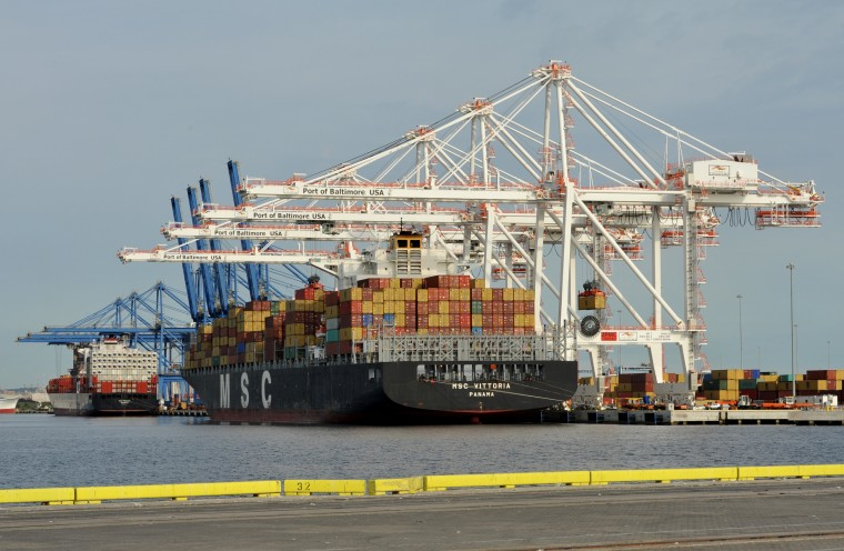New trade figures: A ship unloads at the Port of Baltimore. The federal government is scheduled to release updated numbers on U.S. international trade in goods and services at 8:30 am Friday. (Sun file photo by Amy Davis)