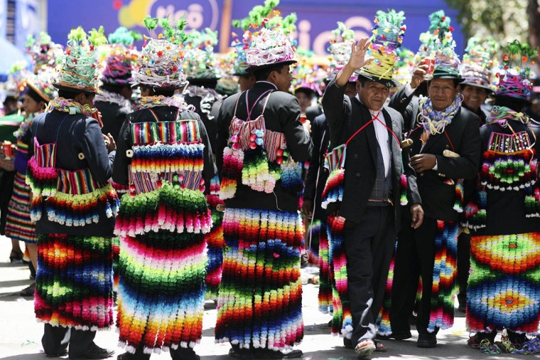 Bolivian indigenous men participate in the Anata Andina (Andean carnival) in Oruro February 27, 2014. Hundreds of ethnic groups from Oruro province participated in the carnival. (Gaston Brito/Reuters photo)