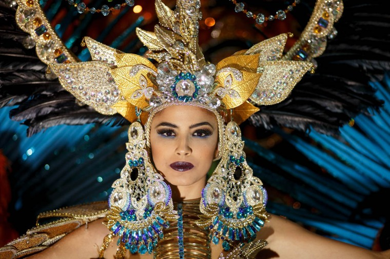 Nominee Amanda Perdomo poses for photographs at backstage before she was elected as Queen of the 2013 Santa Cruz carnival on February 26, 2014 in Santa Cruz de Tenerife on the Canary island of Tenerife, Spain. The Carnival of Santa Cruz de Tenerife brings thousands of revelers every year. Santa Cruz is the closest European equivalent to the Brazilian Carnival from Rio Janeiro. (Pablo Blazquez Dominguez/Getty Images)