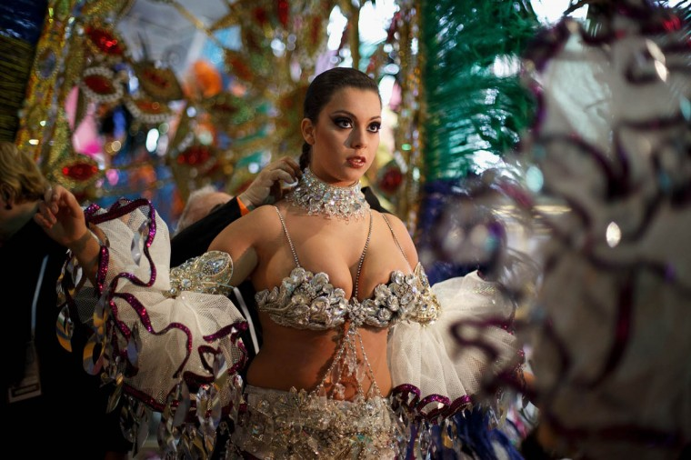 Nominee Ana Belen Sepulveda prepares backstage for her performance on Queen of the 2013 Santa Cruz carnival Gala on February 26, 2014 in Santa Cruz de Tenerife on the Canary island of Tenerife, Spain. The Carnival of Santa Cruz de Tenerife brings thousands of revellers every year . Santa Cruz is the closest European equivalent to the Brazilian Carnival from Rio Janeiro. (Pablo Blazquez Dominguez/Getty Images)