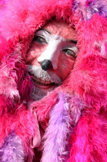 A costumed man celebrates the street carnival in Duesseldorf, western Germany on February 27, 2014. Germans, mainly in the western Rhine region, crowd the streets to celebrate carnival. (Patrik Stollarz/Getty Images)