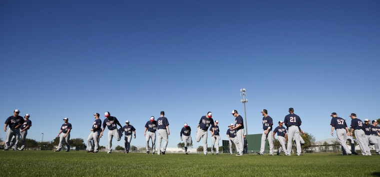 Players for the Minnesota Twins attend spring training in the Fort Myers, Fla., on Monday, Feb. 17, 2014. (Jerry Holt/Minneapolis Star Tribune/MCT)