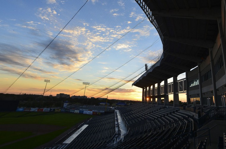 The sun rises over the stadium prior to the first day that New York Yankees positional players report for spring training at George M. Steinbrenner Field. (Tommy Gilligan-USA TODAY Sports)