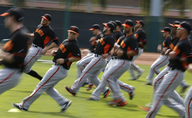 Players do a backpedaling drill open spring training at Scottsdale Stadium in Scottsdale, Ariz., on Wednesday, Feb. 19, 2014. (Patrick Tehan/Bay Area News Group/MCT)