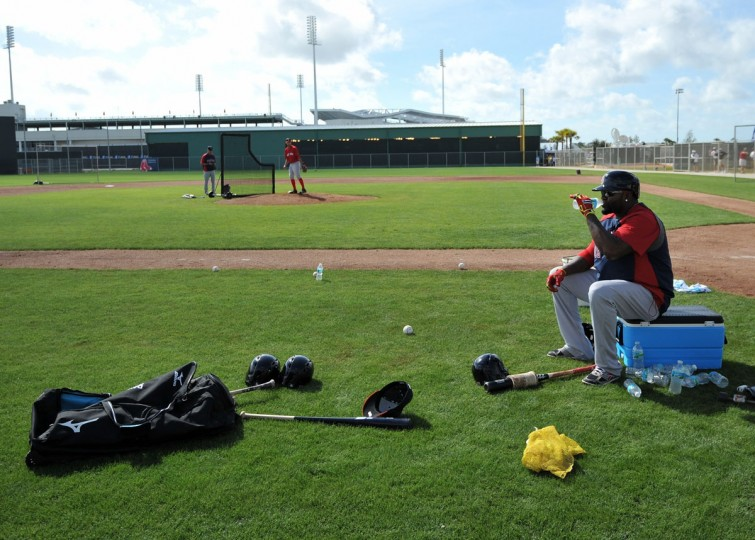 Boston Red Sox designated hitter David Ortiz (34) takes a break before batting practice during spring training at JetBlue Park. (Steve Mitchell-USA TODAY Sports)