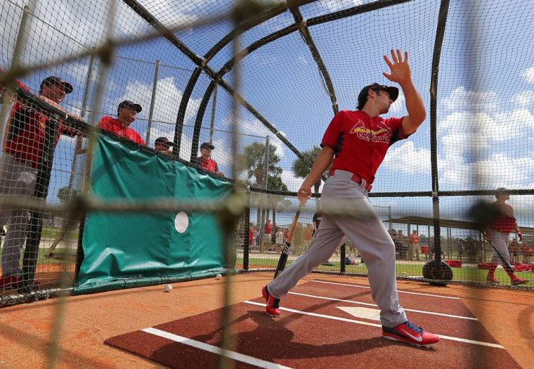 St. Louis Cardinals third baseman Matt Carpenter takes swings in the batting cage at the Cardinals spring training complex at Roger Dean Stadium in Jupiter, Fla. on Friday, Feb. 21, 2014. (David Carson/St. Louis Post-Dispatch/MCT)
