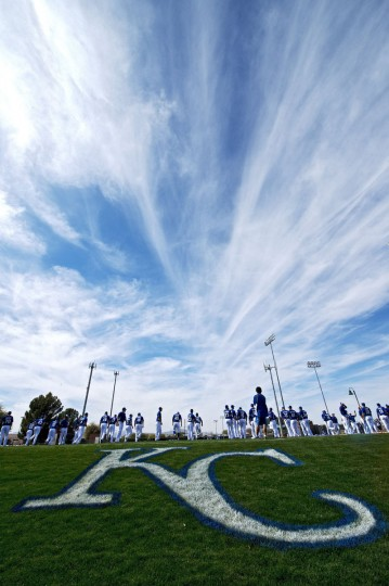 Kansas City Royals players run under high clouds during a spring training workout on Saturday, Feb. 22, 2014, in Surprise, Az. (John Sleezer/Kansas City Star/MCT)